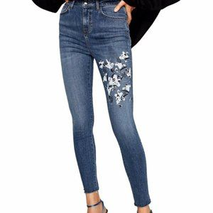 Zara Floral Painted Skinny Jeans with Raw Hem